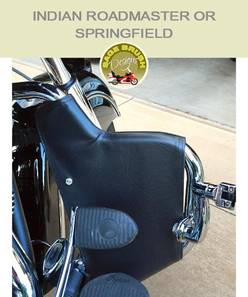 Indian Roadmaster or Springfield with black engine guard chaps