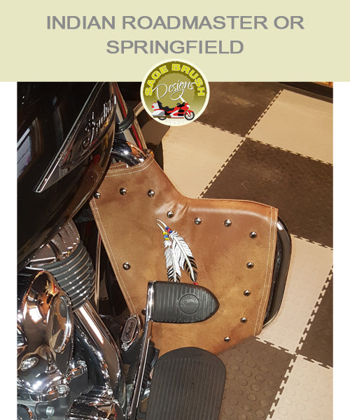 Roadmaster tan engine guard chaps with studs and feather embroidery
