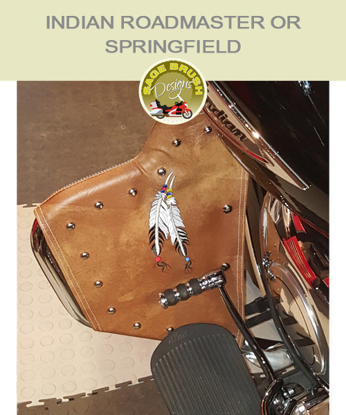 Tan engine guard chaps with feather embroidery for Roadmaster bike
