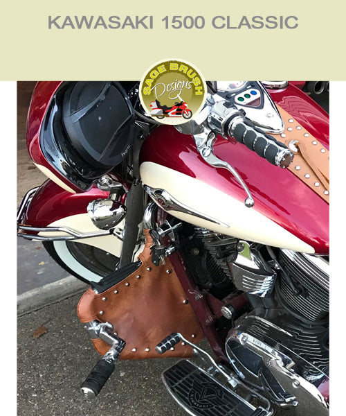 Kawasaki 1500 Classic tan studded engine guard chaps