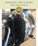 Kawasaki 1500 Classic Fire and Steel with black studded engine guard chaps