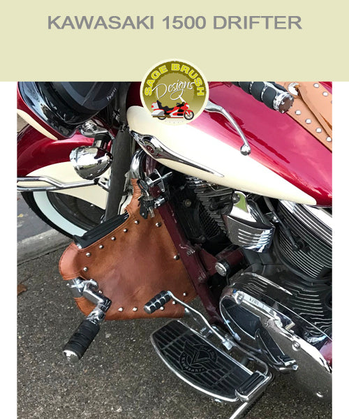 Kawasaki 1500 Drifter Lindy Multibar tan studded engine guard chaps