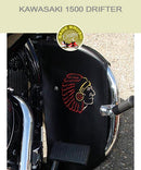 Kawasaki 1500 Drifter black engine guard chaps with Indian Chief logo