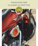 Kawasaki 800 Classic & Drifter MCEnt with black engine guard chaps