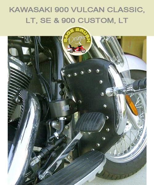 Kawasaki 900 Vulcan Classic, LT, SE & Custom, LT Barons bar with black studded engine guard chaps