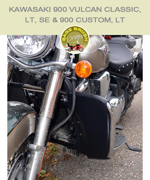 Kawasaki 900 Vulcan Classic, LT, SE & Custom, LT Road Chrome with black engine guard chaps
