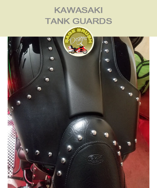 Kawasaki Tank Guards with black studded whaletail