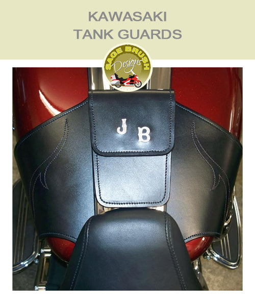 Kawasaki Tank Guards with custom stitching, pocket, and custom order initials
