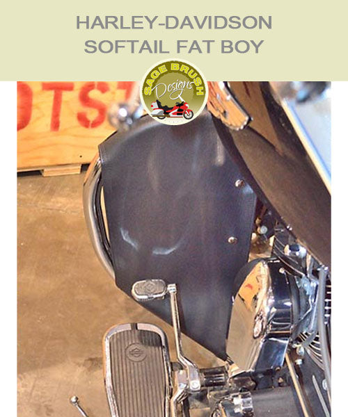 Softail Fat Boy Cobra Regular bar with black engine guard chaps