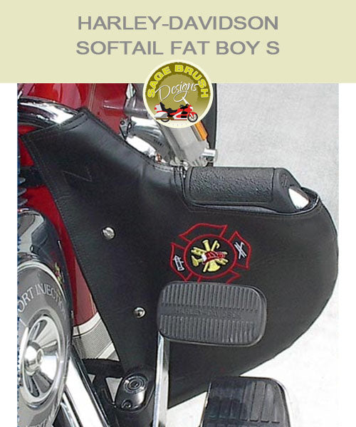 Softail Fat Boy S OEM Mustache bar with black engine guard with fire fighter logo