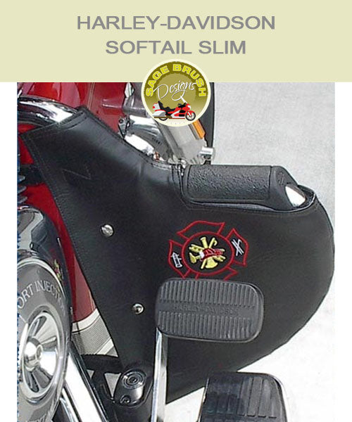 Softail Slim black engine guard chaps with firefighter logo