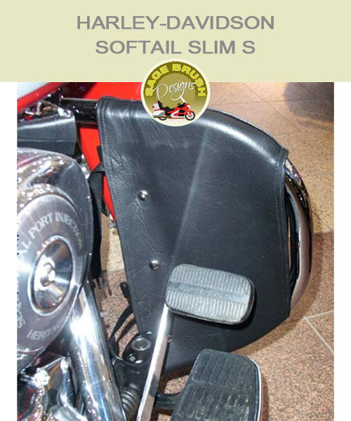 Softail Slim S OEM 49004-00A with black engine guard chaps