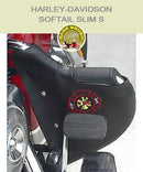Softail Slim S with black engine guard with fire fighter logo