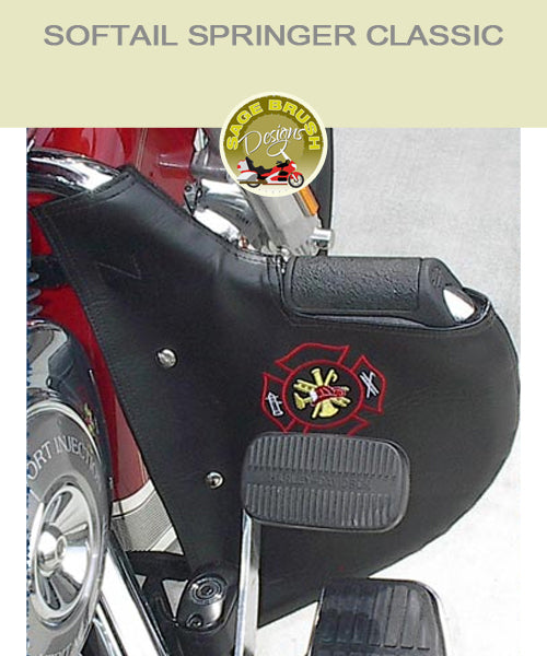 Softail Springer Classic with black engine guard with fire fighter logo