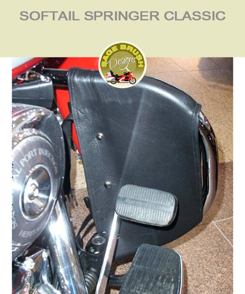 Softail Springer Classic OEM bar with black engine guard chaps