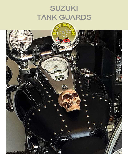 Suzuki Tank Guards with side lacing, studs, and custom skull ornament