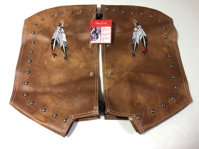 Tan Engine Guard Chaps with Studs and Feather Embroidery