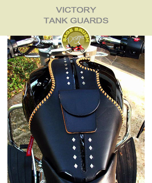 Cross Country or Cross Roads Whaletail Tank Guard with custom colour side lacing, custom studs, and a pocket