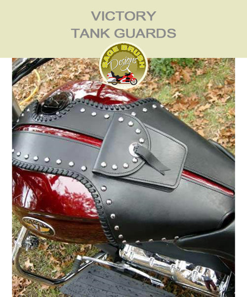 Cross Country or Cross Roads Large Whaletail Tank Guard with side lacing, studs, pocket with studs, and a concho