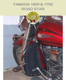Yamaha 1600 & 1700 Road Star with black studded engine guard chaps