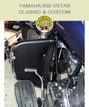 Yamaha 650 VSTAR Classic & Custom Barons with black engine guard chaps