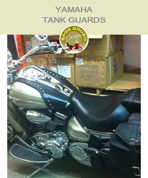 Roadliner Large Whaletail Tank Guard with side lacing and studs