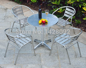2efd2fed1091 Balcony table and chairs for outdoor stainless steel coffee table  combination of simple and casual aluminum