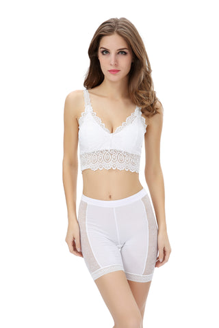 Women's Imported Lace Camisole White Bralette (Size : Free 28-34)