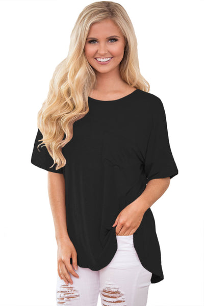 Simple Chic Relaxing Fit Pocket Front Hollow-out Blouse