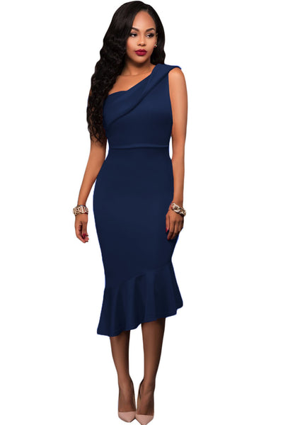 Royal Blue Single Shoulder Ruffle Party Dress