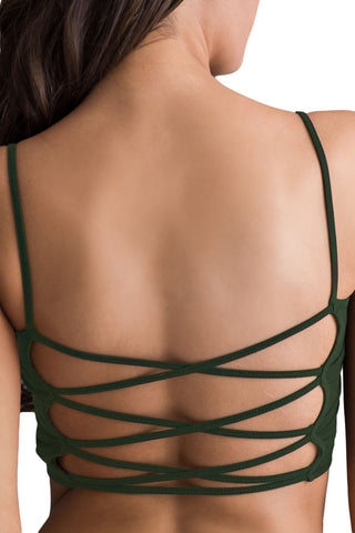 Army Green Light Padded Criss Cross Back Yoga Sports Bra