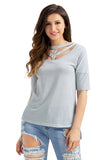 Grey Cutout Choker Detail Short Sleeve T-shirts