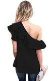 Black One Sided Ruffle Top