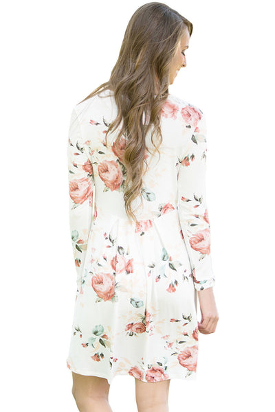 White Chic Long Sleeve Boho Floral Pattern Dress