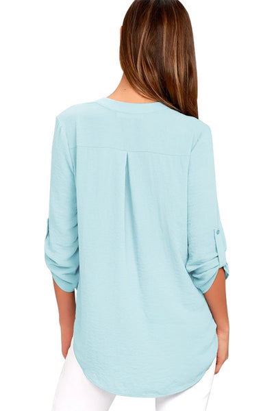 Slate Blue V Neck Knotted Button-up Sleeve Blouse