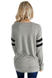 Gray Striped Sleeve Women's Sweatshirt Top