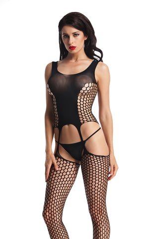 Women's Black Paneled Sexy Bodystocking
