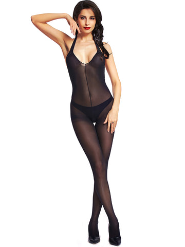 Women's Black Sexy Backless Sheer Mesh Designer Bodystocking