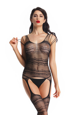 Women's Black Sexy Full Bodystocking Babydoll