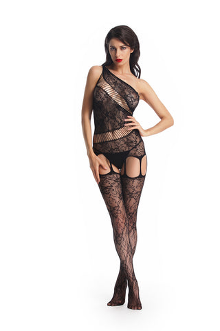 Seductive One Shoulder Swirl Strappy BodyStocking Babydoll