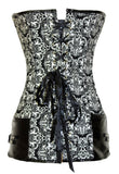 Vintage Print Corset with Leatherette Decor