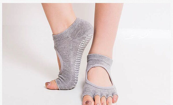 Women's Anti Slip/Skid Finger Cut Yoga Sock  (Assorted Colour)