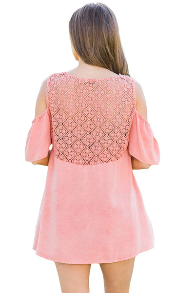 Pink Crochet Neck and Back Cold Shoulder Plus Size Top