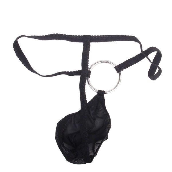 Men's Sexy Black Ring Pouch G String Thong