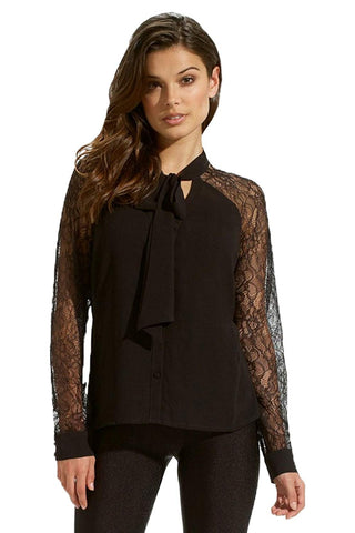Tie Neckline Lace Sleeves Chiffon Top
