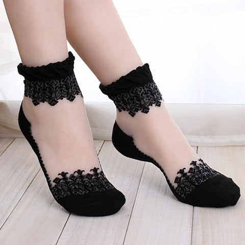 Women's Sheer Mesh Glass Silk Crystal Lace Socks