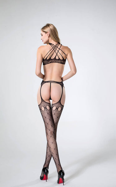Seductive Crochet Suspender Backless Body Stocking Babydoll Exotic Wear