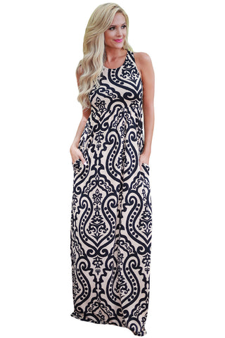 Apricot Contrast Damask Print Sleeveless Long Dress