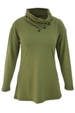 Army Green Buttoned Cowl Neck Long Top