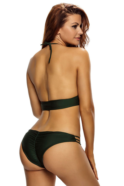Army Green Glittering High Neck Bathing Suit
